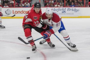 Ottawa Senators forward Jean-Gabriel Pageau and Montreal Canadiens forward Max Pacioretty