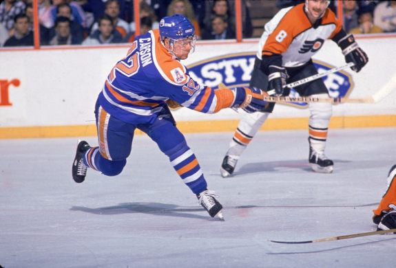 Jimmy Carson, #12 for the Edmonton Oilers
