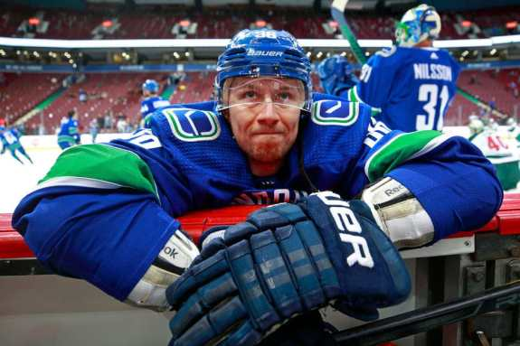 Jussi Jokinen #36 of the Vancouver Canucks