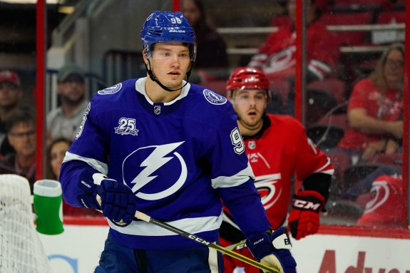 Tampa Bay Lightning defensemen Mikhail Sergachev