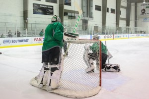 Niemi and Lehtonen has backed the high-powered Stars, but have not had as much success defensively (Annie Devine/ The Hockey Writers)