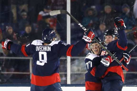 icklas Backstrom #19 of the Washington Capitals celebrates his power play goal with teammates Alex Ovechkin