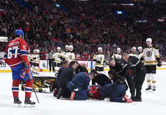 Phillip Danault hit in head by Chara shot