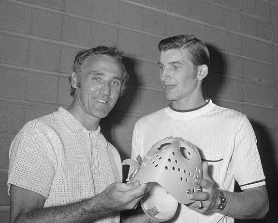 Jacques Plante poses for a photo with Vladislav Tretiak