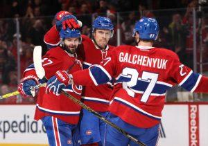 Montreal Canadiens Alexander Radulov, Shea Weber and Alex Galchenyuk