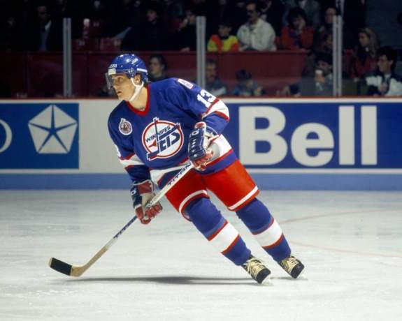 Teemu Selanne #13 of the Winnipeg Jets