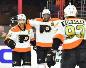 Claude Giroux, Wayne Simmonds, Jakub Voracek, Philadelphia Flyers