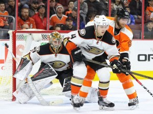 Any goalie would do bettter with Anaheim's defense in front of him. (Amy Irvin / The Hockey Writers)