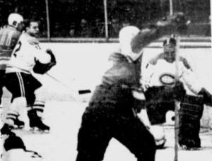 Jacques Plante makes one of his 25 saves last night.