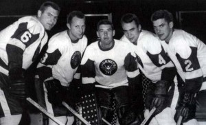 Gary Doak (4) seen here with his defence mates in Pittsburgh this season.