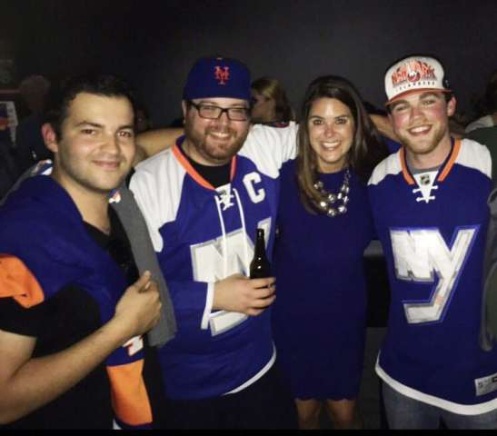 James Duffy (far right) with Shannon Hogan (Islanders TV host and reporter), and friends. James Stumper (of Isles Nation) and Jesse Dakss.
