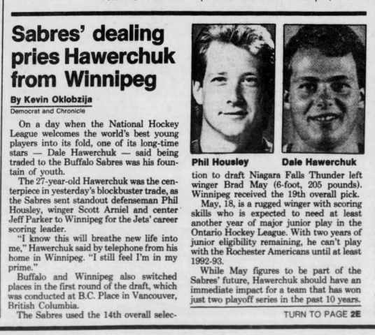 Dale Hawerchuk and Phil Housley trade