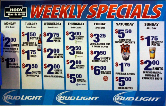 Weekly Drink Specials for 10-2016 at the Hody