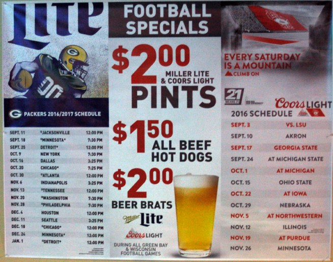 Football Specials at the #HodyBar for 10-2016