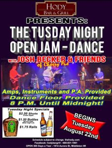 Tuesday Night Open Jam - Dance @ Hody Bar and Grill in Middleton, WI   Middleton   WI   United States