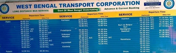 Esplanade to Digha bus timetable
