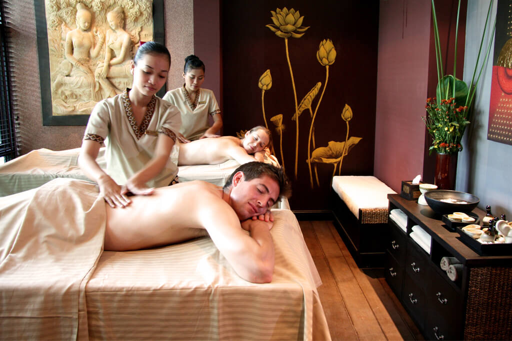 Getting a couples massage at the resort and spa