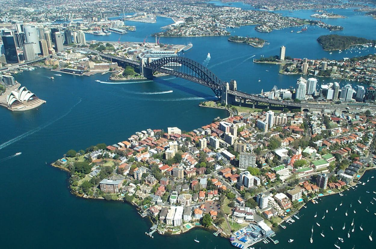Flying over Sydney Harbour in Australia for an amazing aerial view