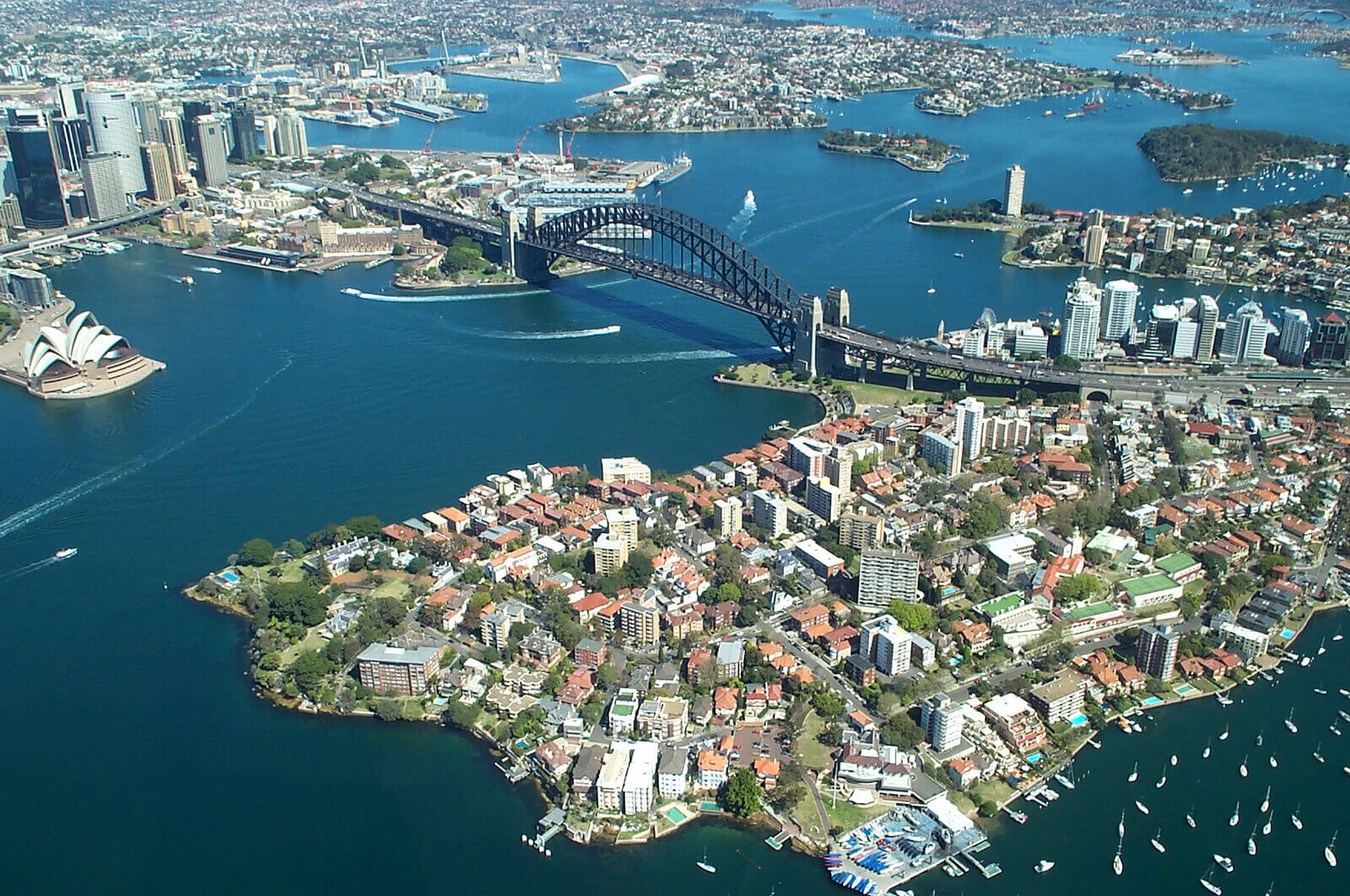 Aerial view of Sydney Harbour in Australia