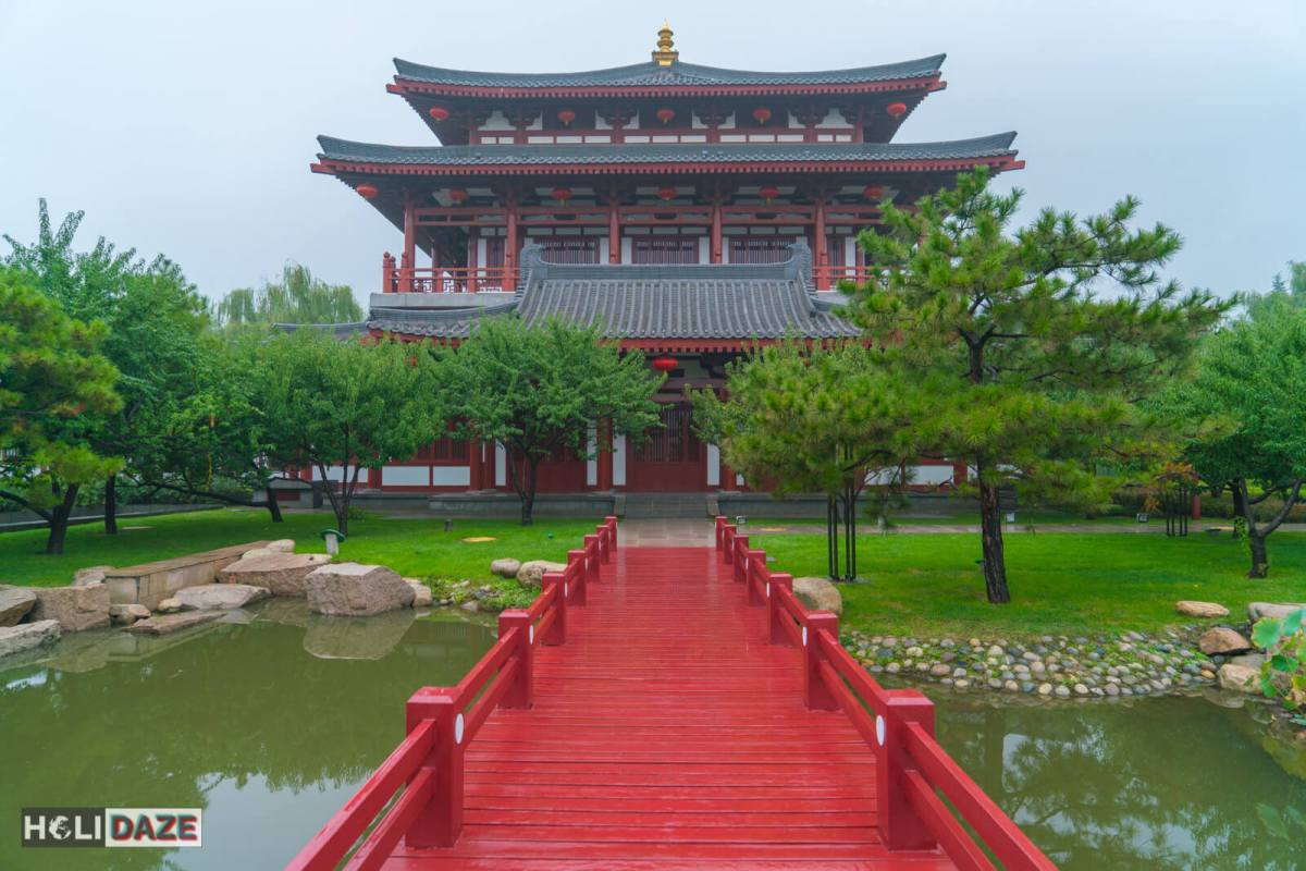 Building at Daming Palace National Heritage Park in Xi'an, China