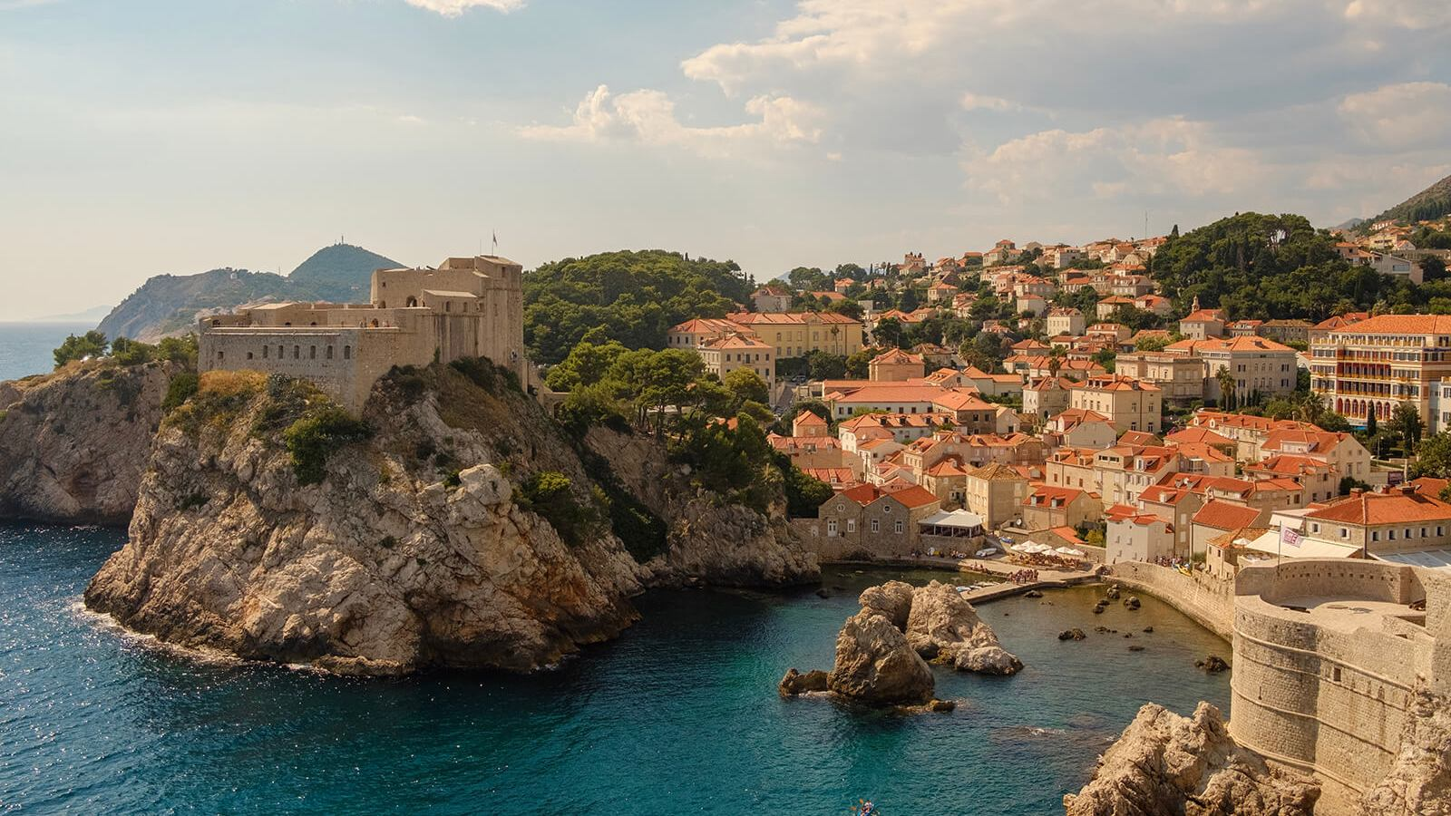 Castles and crystal blue waters of Dubrovnik, Croatia