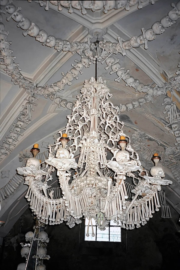 This chandelier at Sedlec Ossuary contains at least one of every bone in the human body
