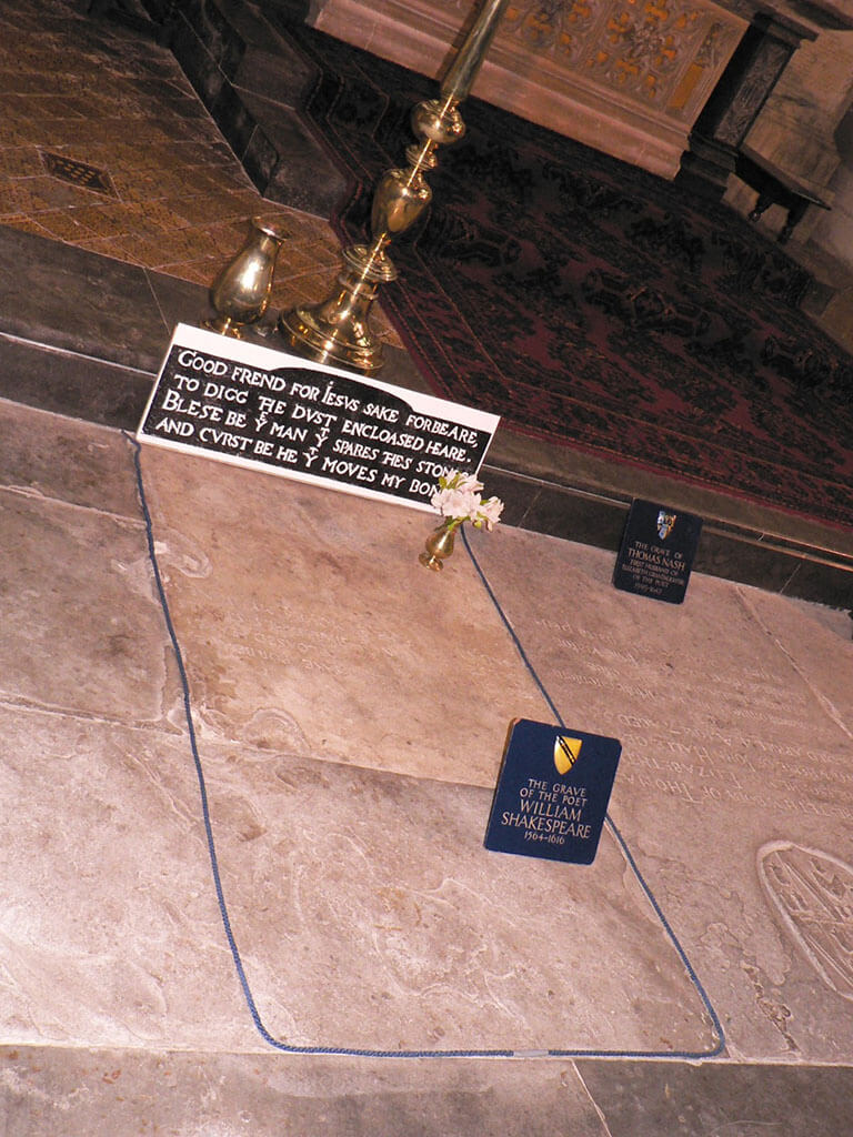 William Shakespeare's grave inside the Holy Trinity Church in Stratford-Upon-Avon, England