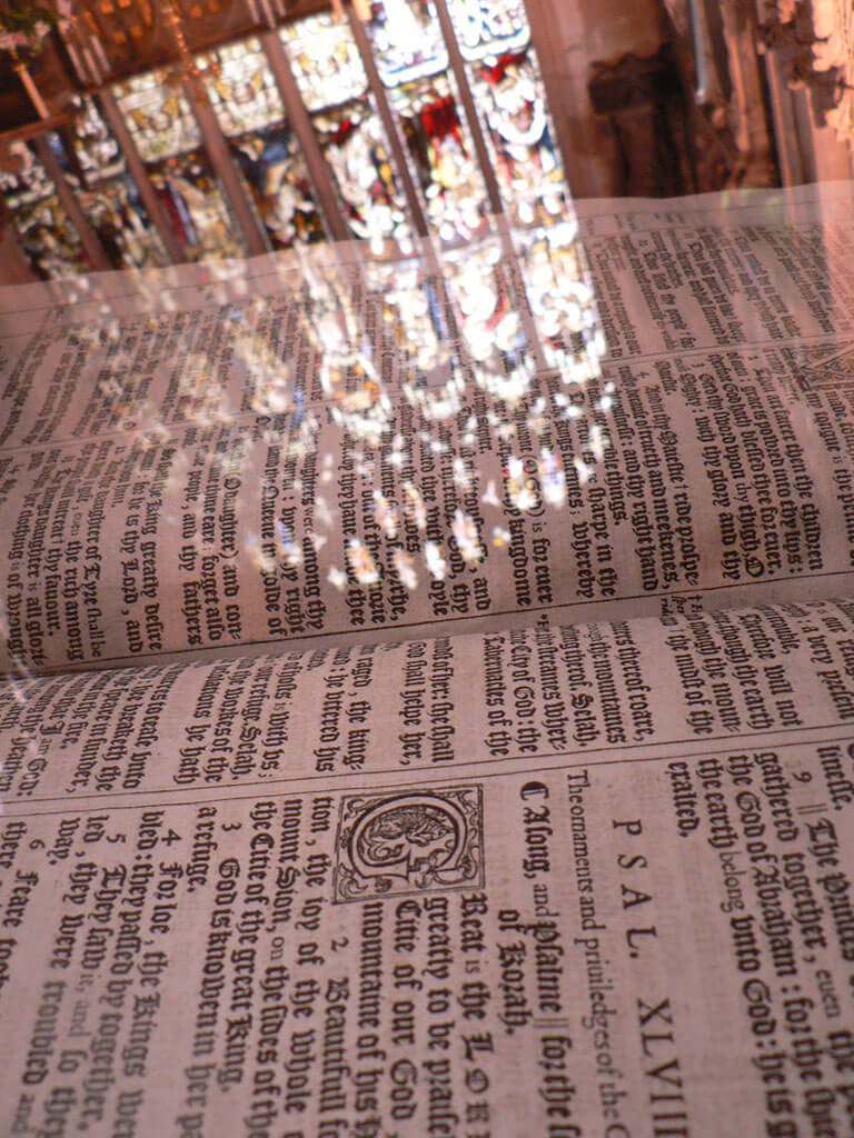King James Bible inside the Holy Trinity Church in Stratford-Upon-Avon, England