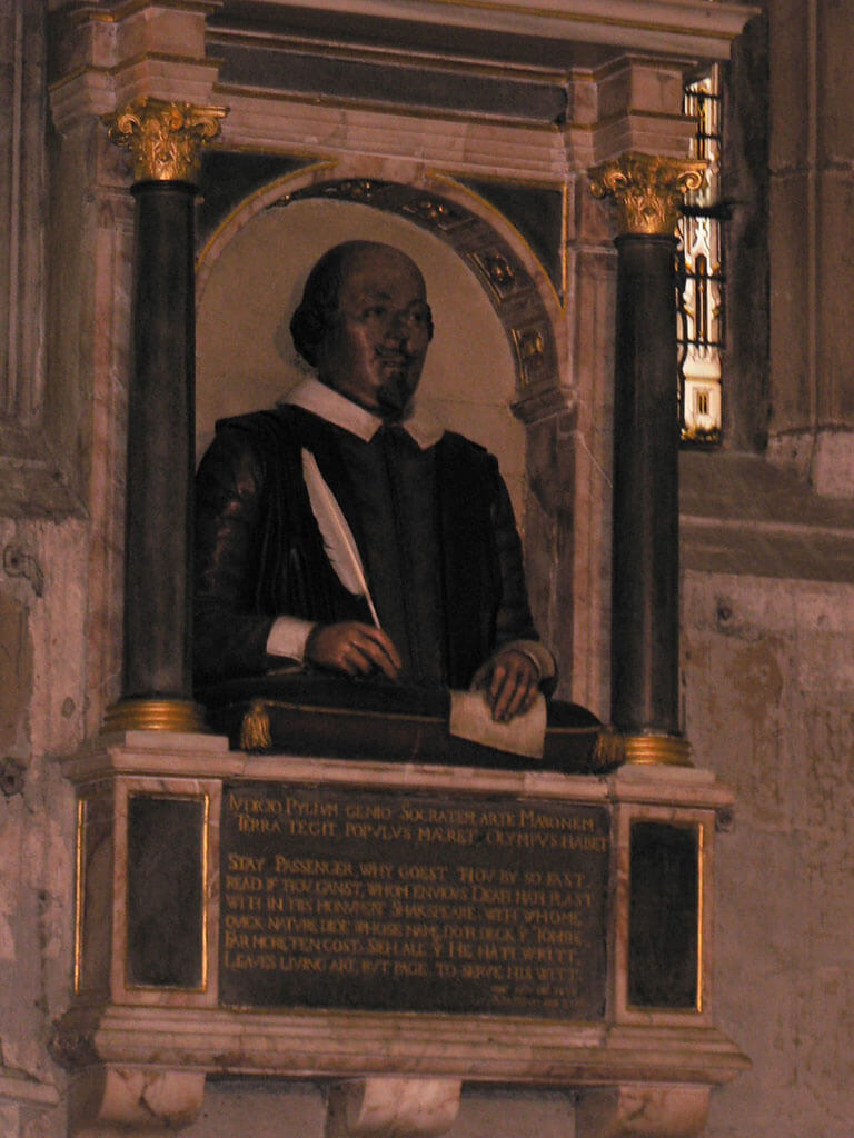 William Shakespeare's funerary monument at the Holy Trinity Church in Stratford-Upon-Avon, England