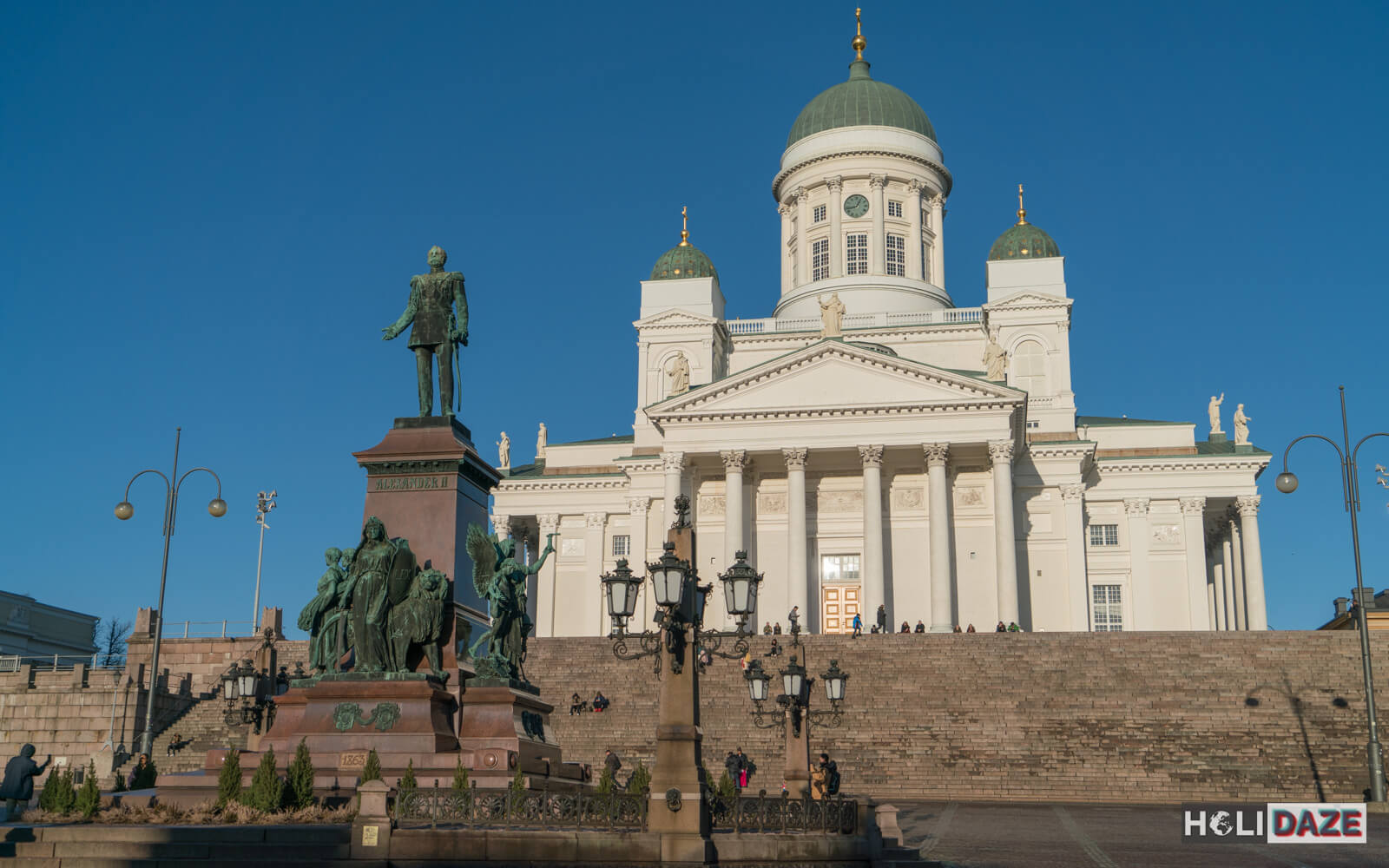 Senate Square in Helsinki and a great view of the White Cathedral and the statue of Alexander II