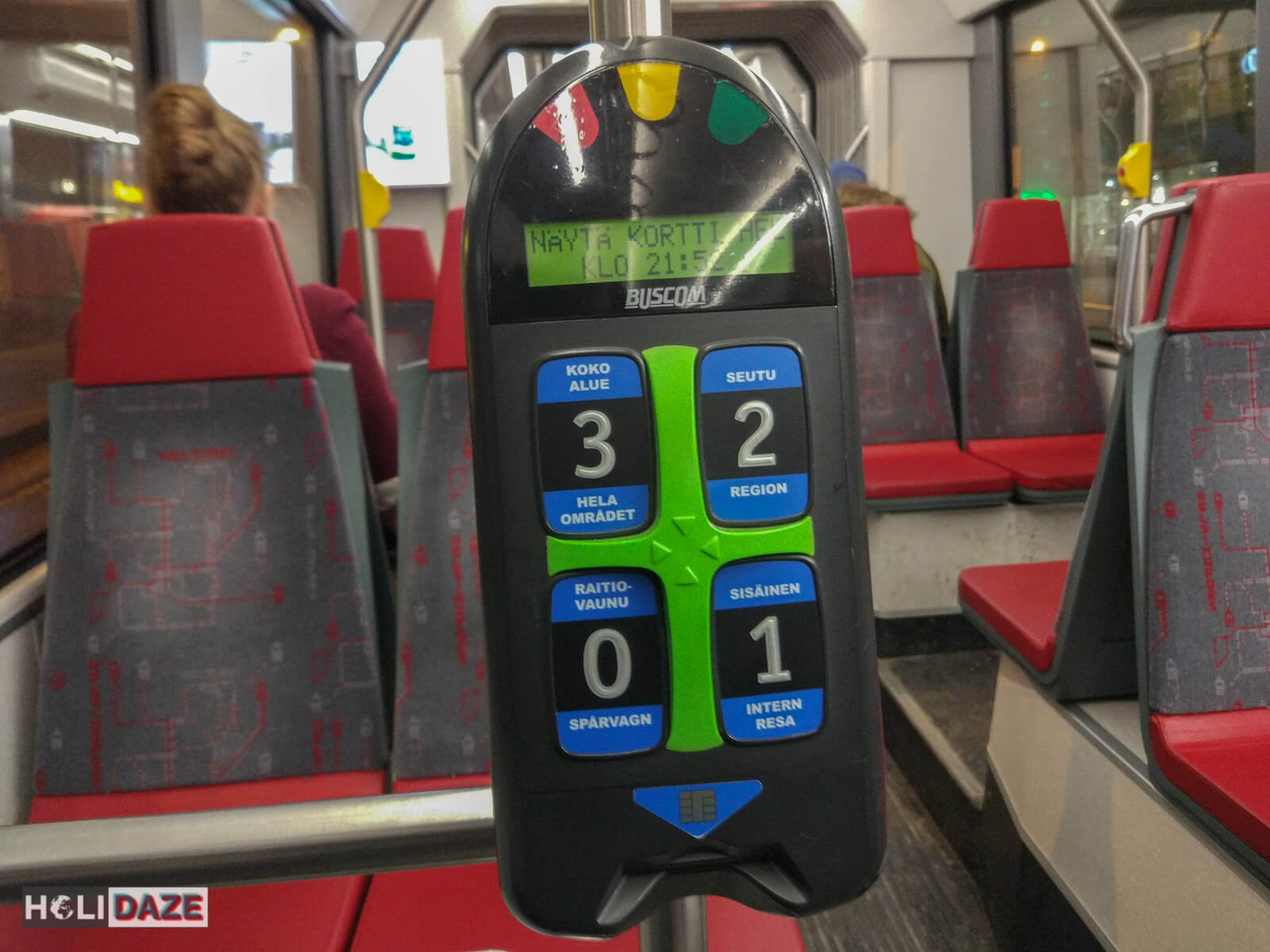 Ticket reader aboard a tram in Helsinki, Finland