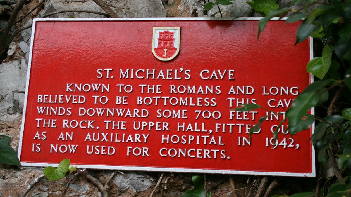 Sign at St Michael's Cave in Gibraltar, one of the top 5 caves in Europe