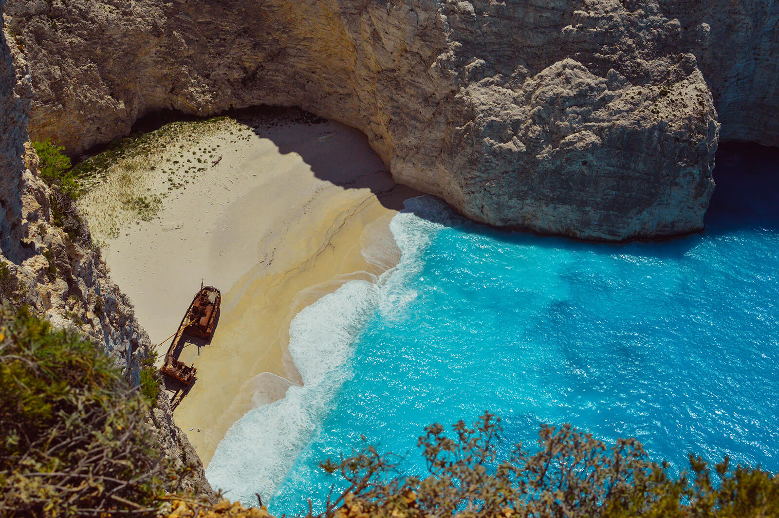 The iconic Shipwreck Cove in Zakynthos, Greece