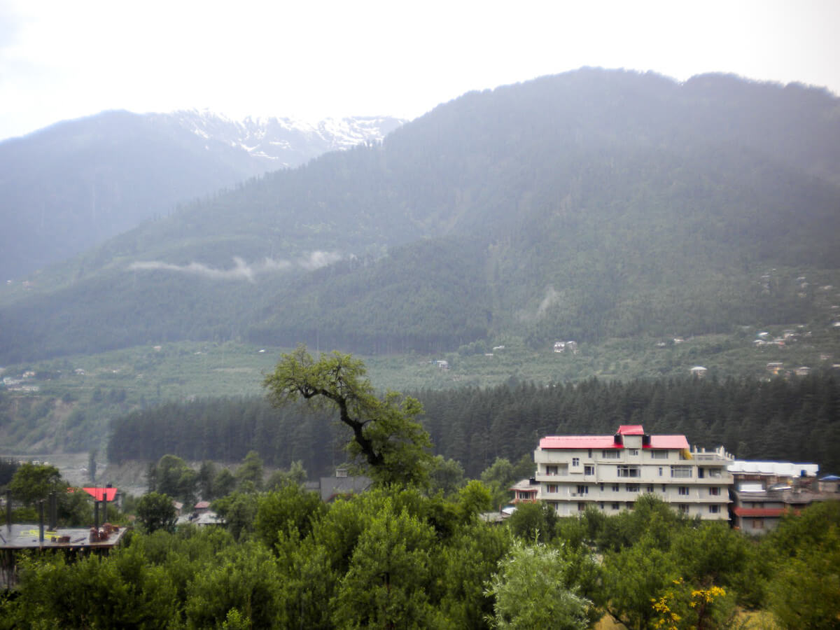 View from the balcony of our room at Orchid Guest Farm in Manali, India
