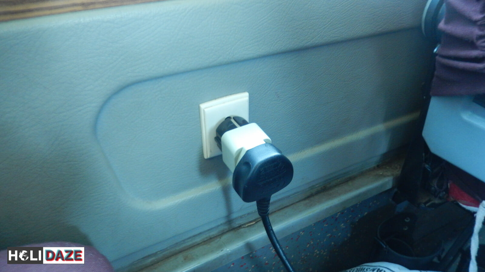 Working power sockets on the DTC Delhi-Kathmandu express Mercedes bus to Nepal. Best way to travel from Delhi to Kathmandu is by bus.