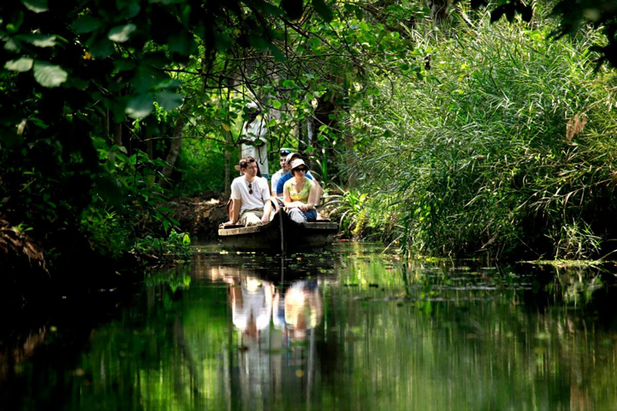 Taking a relaxing boat ride through the Kerala backwaters