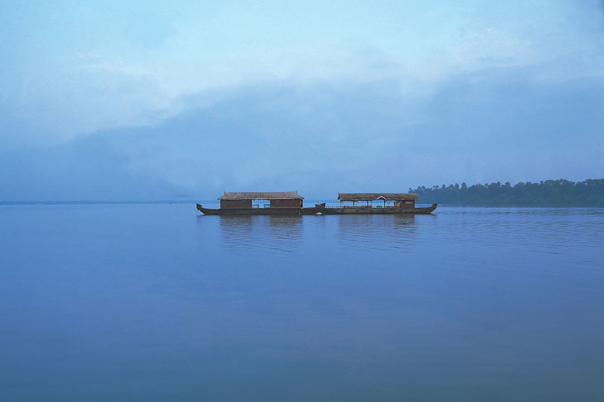 Houseboats in the Kerala backwaters of India