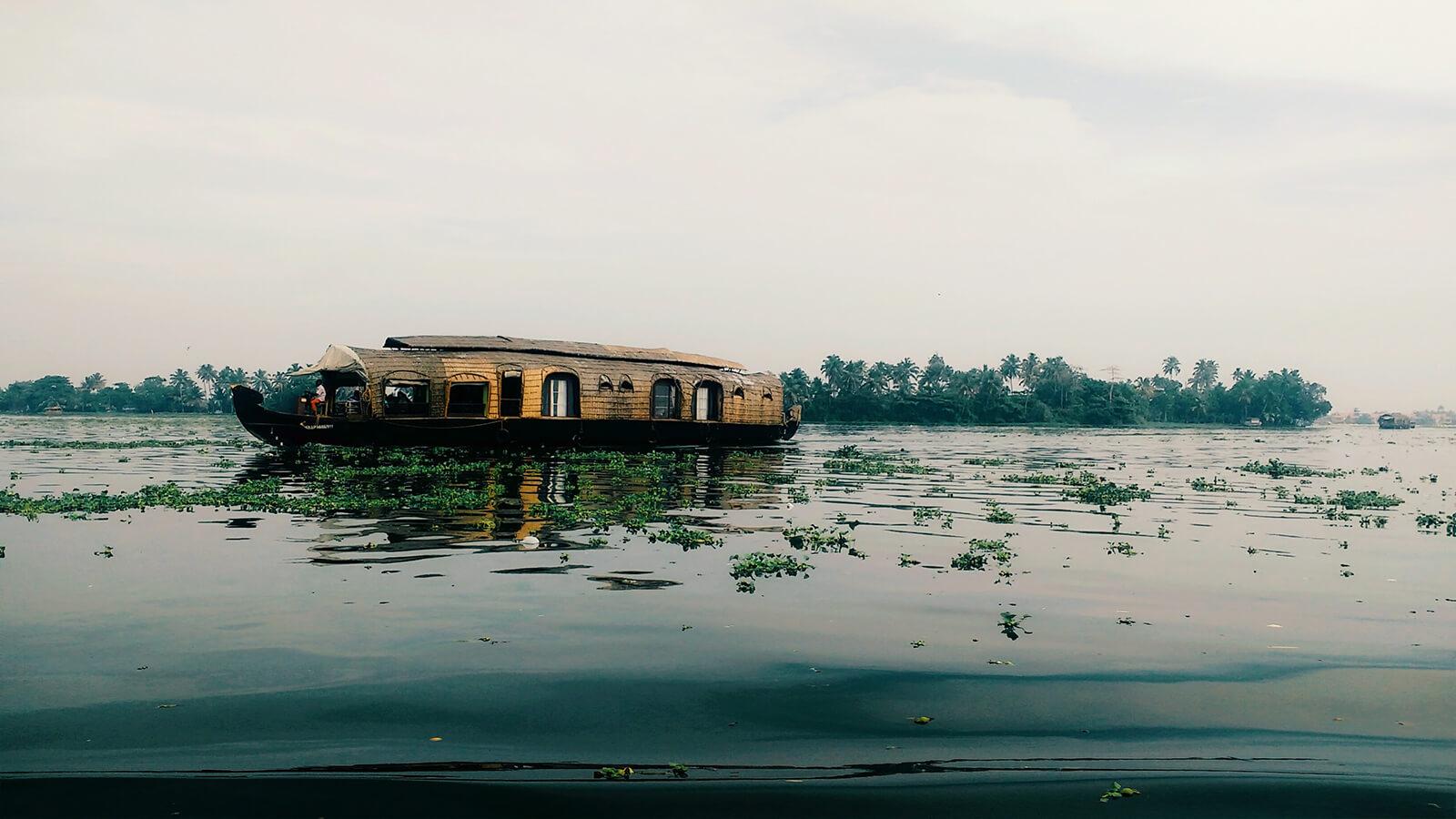 Traditional Kerala houseboat