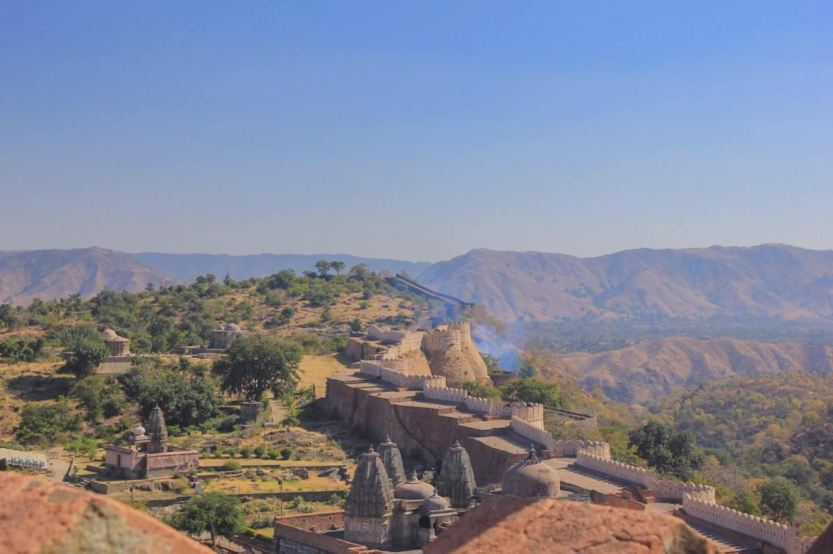 Kumbhalgarh Fort and the Great Wall of India, second only to the Great Wall of China, as seen from inside the fort