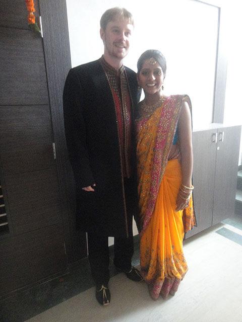 Modern Hindu wedding guide: Examples of men's sherwani and women's saree