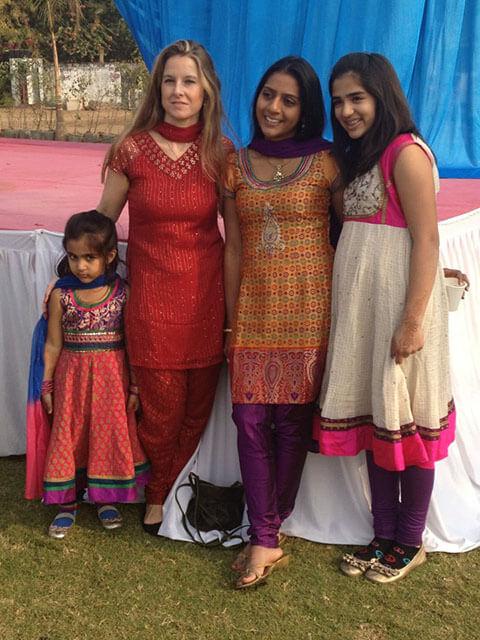 Modern Hindu wedding guide: examples of different salwar kameez at Grah Shanti