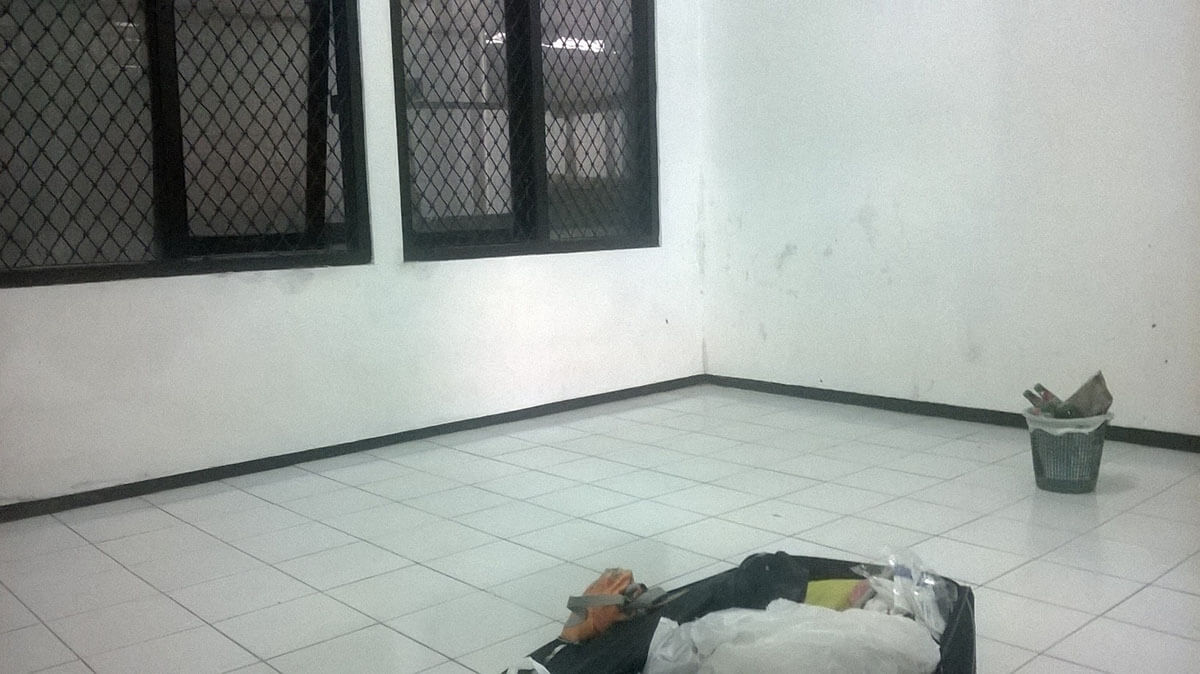 The common area of my cell at the immigration detention center in Indonesia