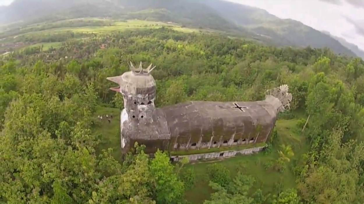 Aerial view of the Chicken Church of Magelang, one of the unique and offbeat Indonesia sights and activities