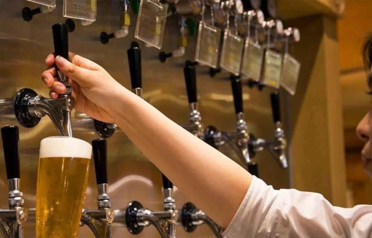 Dotonbori beer on tap in Osaka, Japan