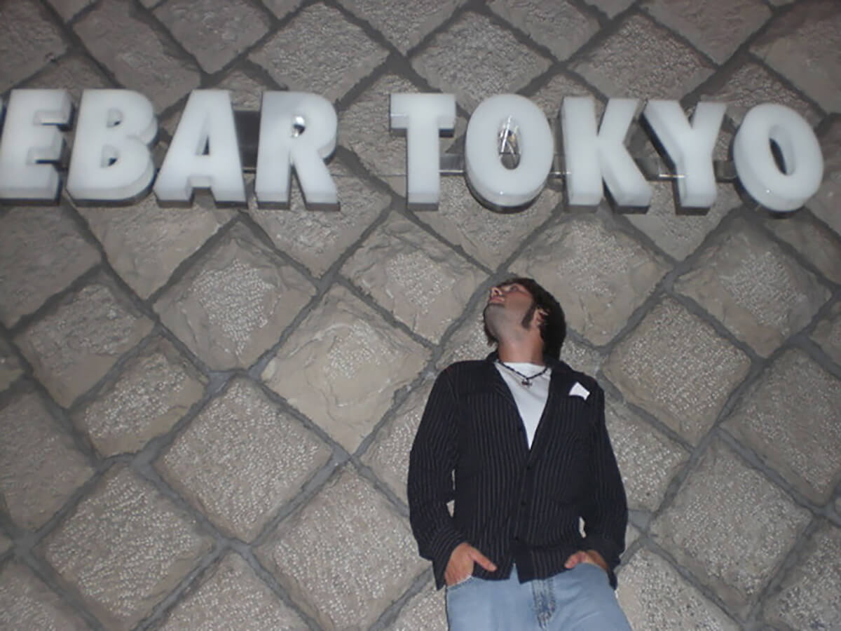 Derek Freal outside of Absolut Ice Bar Tokyo