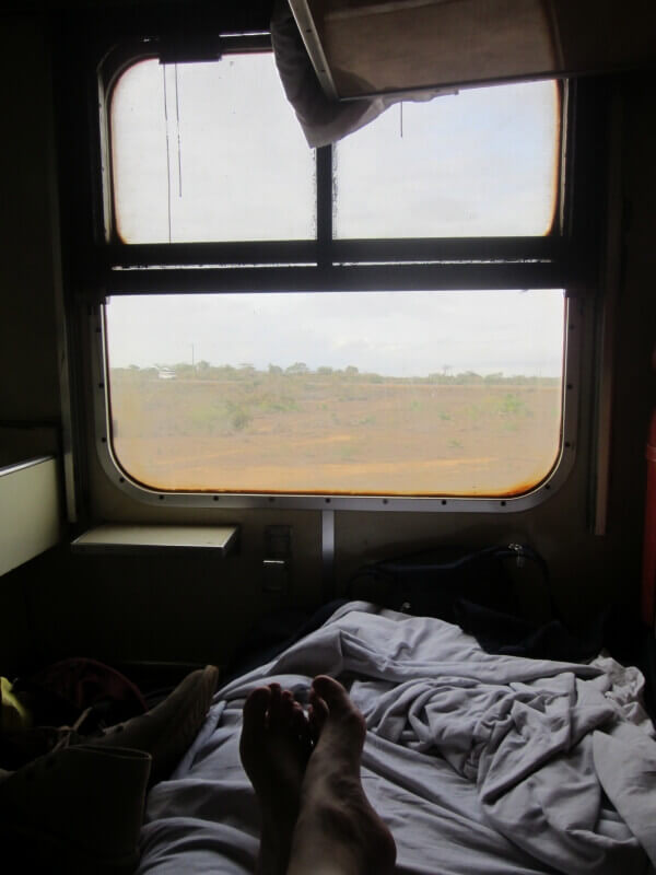 Our first class cabin aboard the Lunatic Express from Nairobi to Mombasa, Kenya