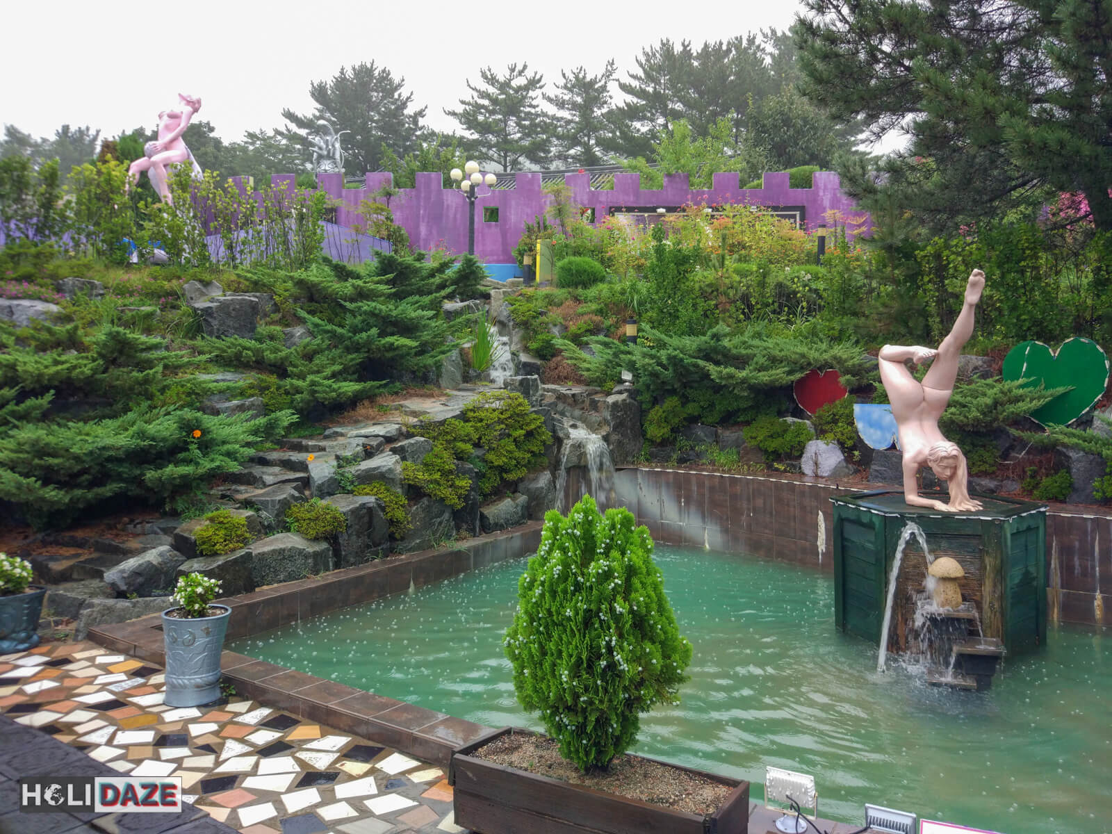 The sexual sculpture park and gardens at Love Castle sex museum in Korea