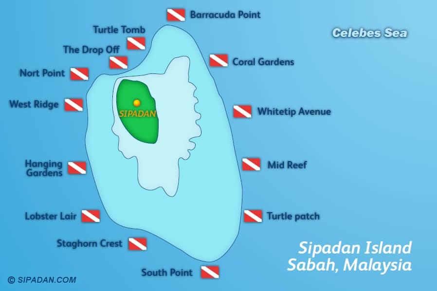 Sipadan Island scuba diving location map