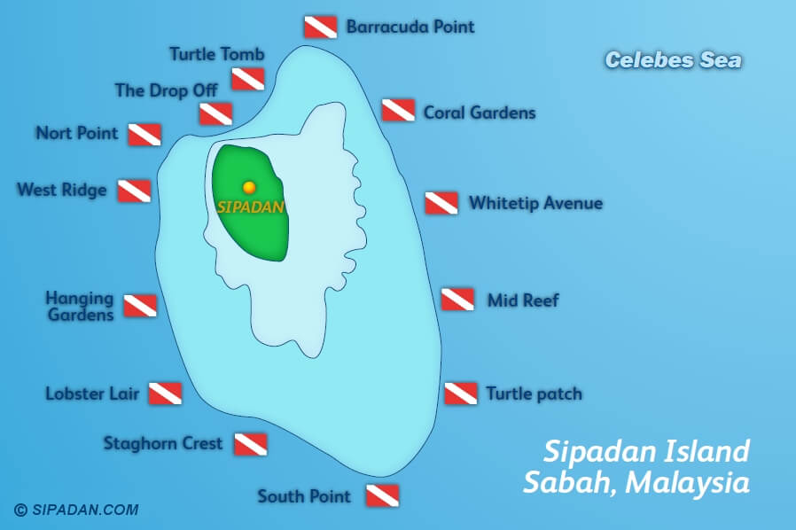 Sipadan Island scuba diving location map
