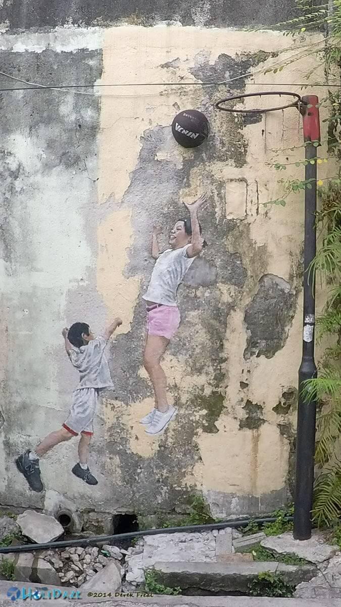 3D Penang street art of kids playing basketball